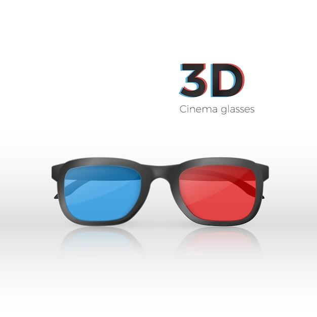 Vista frontal de gafas de cine 3d realista Vector Premium