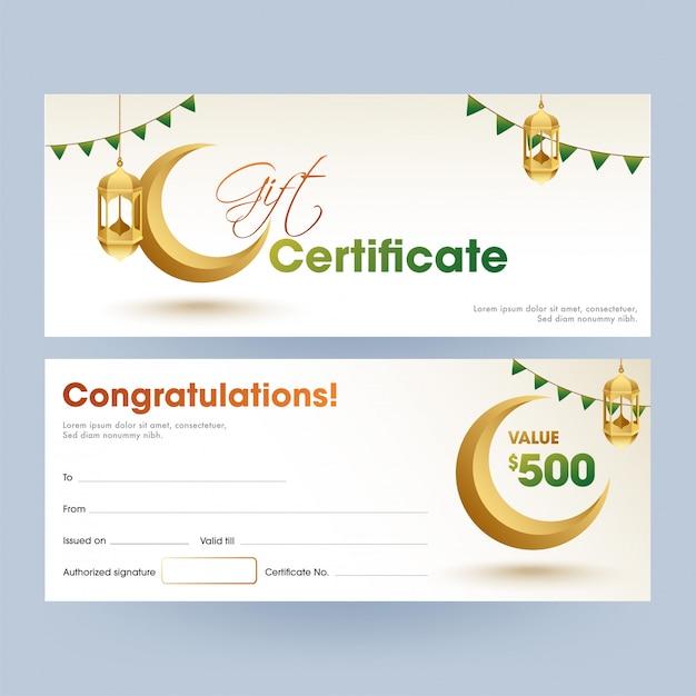 Vista frontal y posterior del certificado de regalo del festival islámico con be Vector Premium