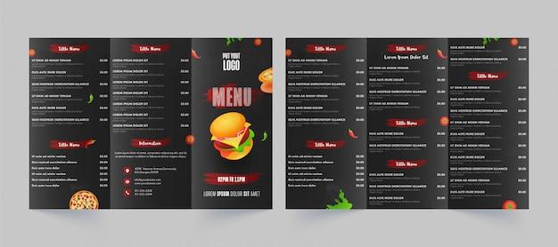 Vista frontal y posterior de la tarjeta de menú de comida rápida para restaurante y cafetería. Vector Premium
