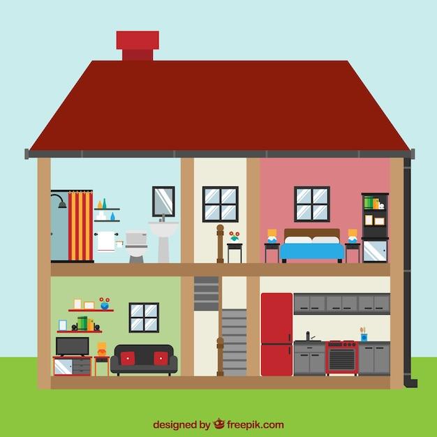 Vista interior de casa con habitaciones en dise o plano for Programa diseno habitaciones gratis