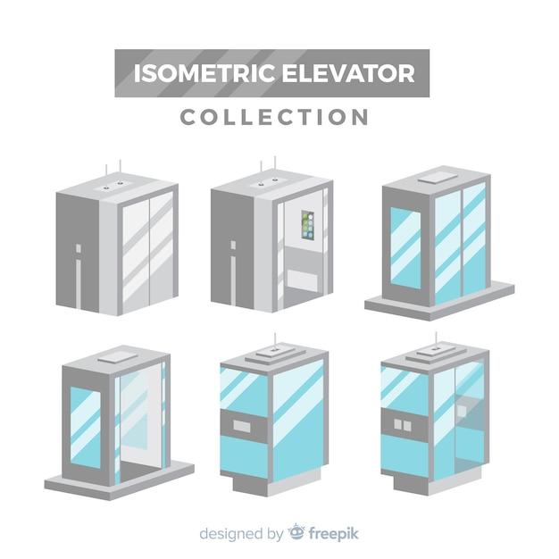 Vista isométrica de colección de ascensores modernos vector gratuito