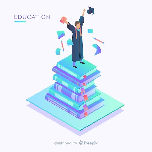Vista isométrica de concepto moderno de educación vector gratuito