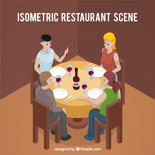 Vista isom trica de gente cenando en una mesa redonda - Mesa redonda 4 personas ...