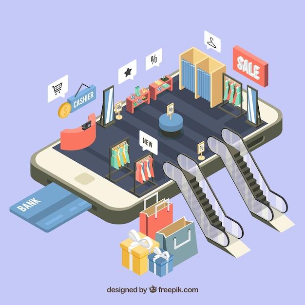 Vista isom trica de una aplicaci n m vil para compras for Compra online mobili