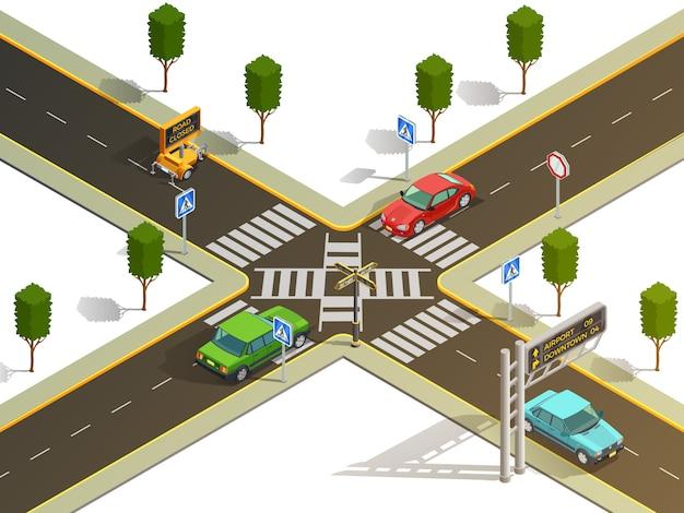 Vista isométrica de la navegación del tráfico de la intersección de la ciudad vector gratuito