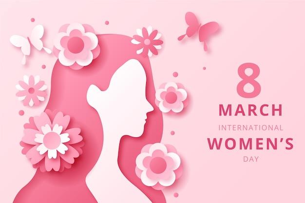 Vista lateral del día internacional de la mujer en estilo papel. vector gratuito