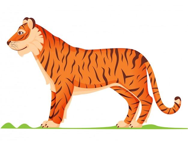 Vista lateral de dibujos animados de tigre en color naranja y marrón. Vector Premium