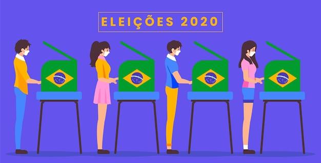 Vista lateral de la gente de brasil votando y usando máscara médica Vector Premium