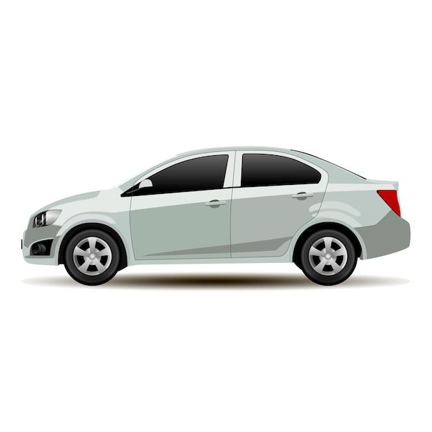 Vista lateral del sedán de automóvil plateado. vector vehículo plano |  Vector Premium