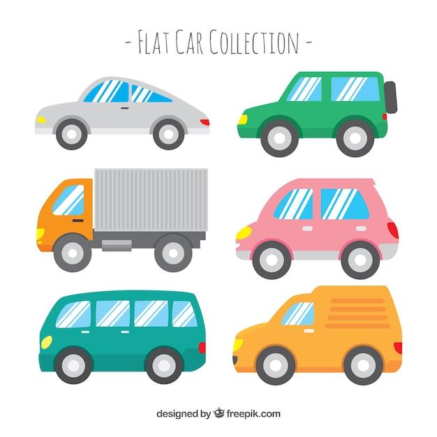 Vista lateral de seis coches con ventanas brillosas vector gratuito