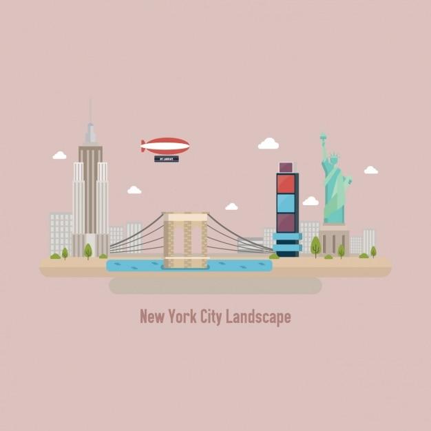 Vista de nueva york colorida vector gratuito