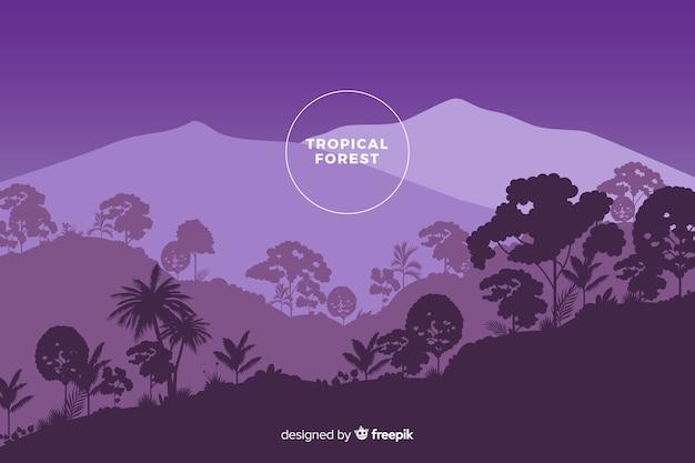 Vista panorámica del hermoso bosque tropical en tonos morados vector gratuito