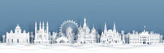 Vista panorámica del horizonte de moscú, rusia con monumentos famosos del mundo en estilo de corte de papel Vector Premium