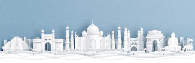 Vista panorámica de la india con taj mahal y horizonte con monumentos famosos del mundo Vector Premium