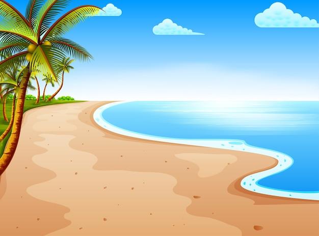 Vista de la playa con el hermoso cielo azul y el árbol de coco. Vector Premium