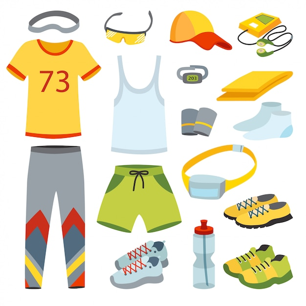 Vista superior corriendo ropa ilustración plana de dibujos animados. Vector Premium