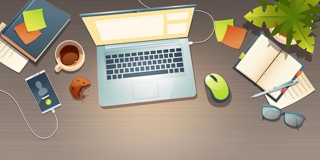 Vista superior del lugar de trabajo, escritorio de oficina, espacio de trabajo con taza de café, galleta desmenuzada, planta en maceta, teléfono móvil y documento alrededor de la computadora portátil. lugar de trabajo con gafas y papelería ilustración de dibujos animados vector gratuito