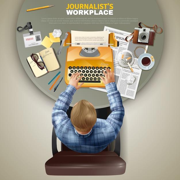 Vista superior periodista en el lugar de trabajo vector gratuito
