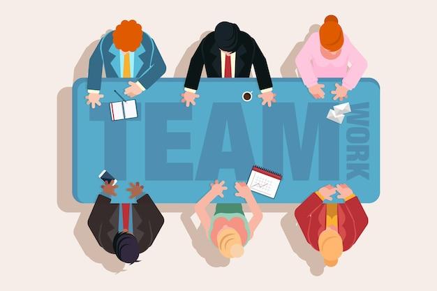 Vista superior de personas de trabajo en equipo en una reunión vector gratuito