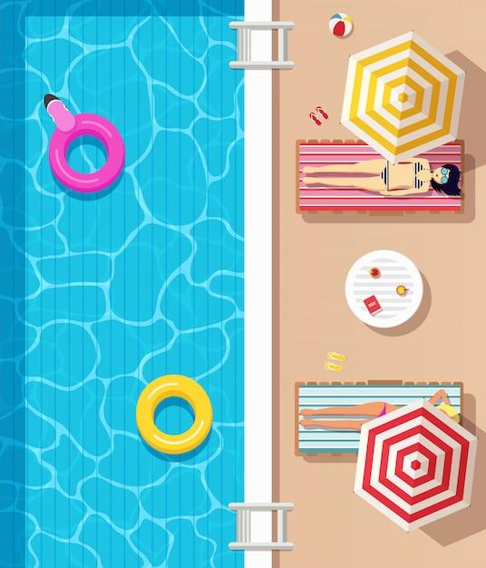 Vista superior, piscina con agua clara, círculos inflables y chicas vestidas en traje de baño tumbadas en tumbonas y tomando el sol. cartel de horario de verano. Vector Premium