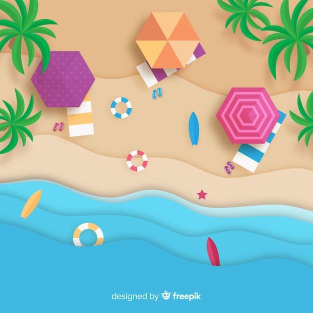 Vista superior de playa estilo papel vector gratuito