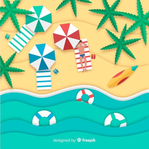 Vista superior de la playa estilo papel vector gratuito