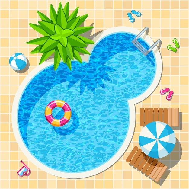 Vista superior relajarse piscina Vector Premium