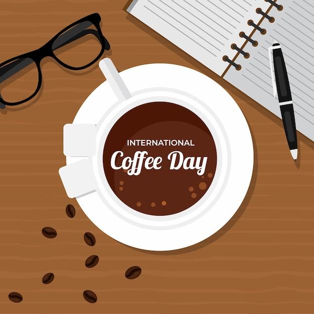 Vista superior de la taza de café y accesorios de trabajo. vector gratuito
