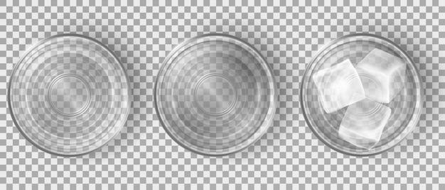 Vista superior de vasos de agua vacíos y llenos vector gratuito