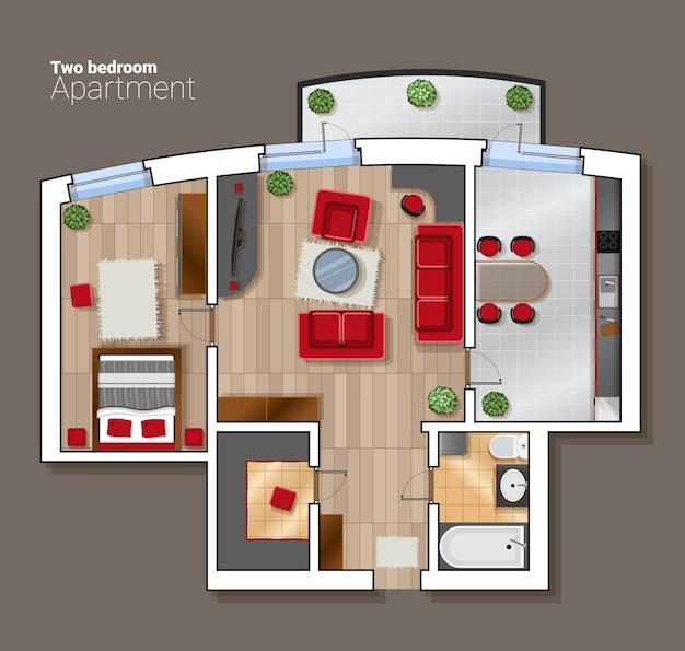 Vista superior del vector plano de la habitación de la casa. comedor moderno, dormitorio y baño interior con muebles. Vector Premium