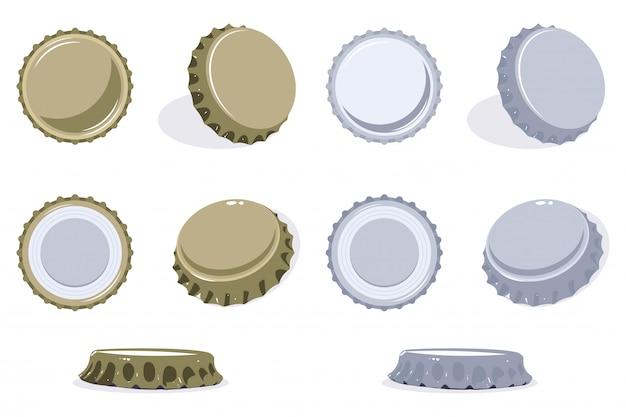 Vista de la tapa de la botella desde la parte superior, lateral e inferior. conjunto de vectores de iconos de tapa de cerveza o refresco aislado. Vector Premium