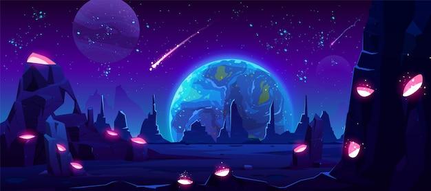 Vista de la tierra por la noche desde el planeta alienígena, espacio de neón vector gratuito