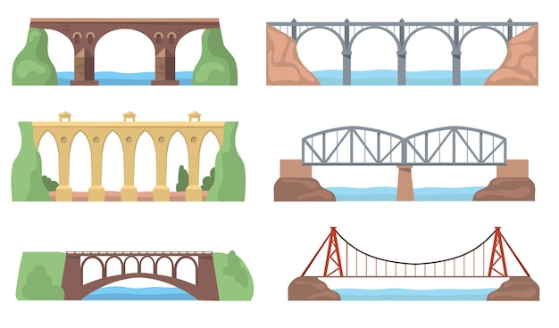 Vistas panorámicas con puentes establecidos. construcciones de arcos, acueductos, ríos, acantilados, paisajes aislados. ilustraciones vectoriales planas para arquitectura, hito, concepto de transporte vector gratuito