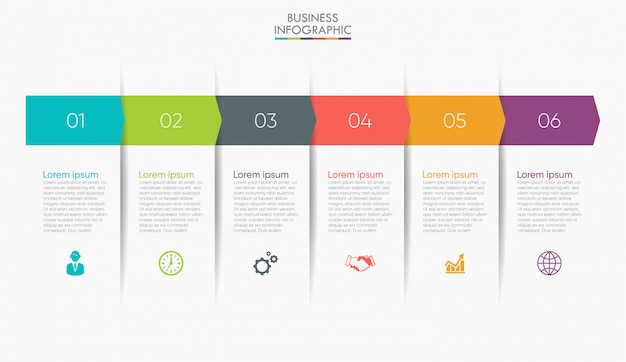 Visualización de datos empresariales. línea de tiempo infografía Vector Premium