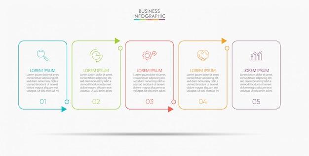 Visualización de datos empresariales. plantilla de infografía de línea de tiempo Vector Premium