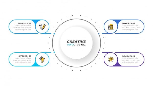 Visualización empresarial elementos de diseño infográfico para presentación Vector Premium