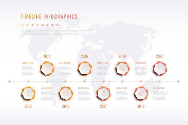 Visualización moderna de la historia corporativa con elementos hexagonales, indicación del año y mapa mundial Vector Premium