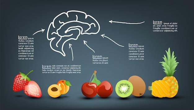 Vitamina valor nutritivo de frutas infografía plantilla Vector Premium