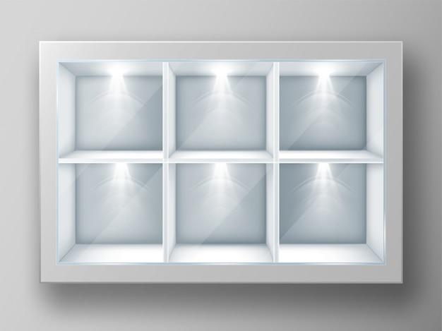Vitrina blanca con estantes cuadrados y vidrio. vector gratuito