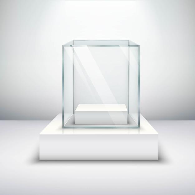 Vitrina de cristal vacía vector gratuito