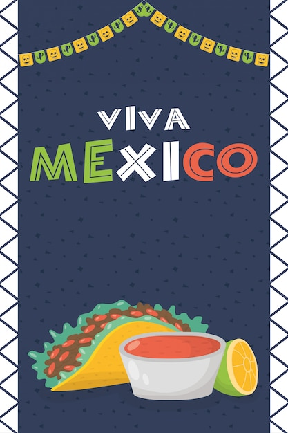 Viva méxico celebración con comida y salsas Vector Premium