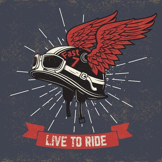 Viva para montar. casco de moto con alas sobre fondo grunge. elemento para impresión de camiseta, póster, emblema, insignia, signo. Vector Premium