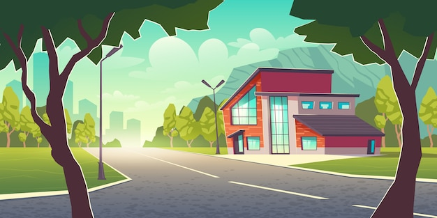 Vivienda cómoda en lugar limpio fuera de la ciudad de dibujos animados vector gratuito