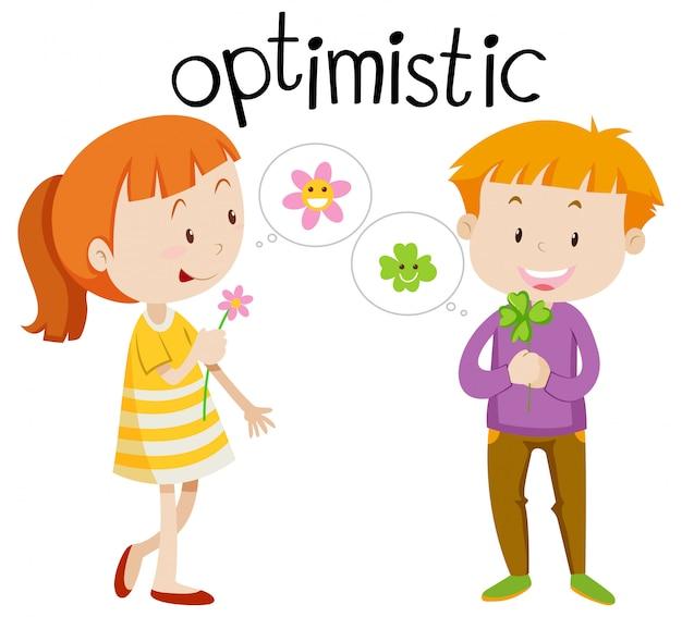 Vocabulario inglés palabra optimista vector gratuito