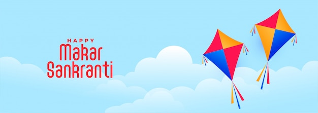 Volando cometas en el cielo para el festival indio makar sankranti vector gratuito