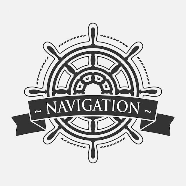 Volante de barco con estandarte Vector Premium