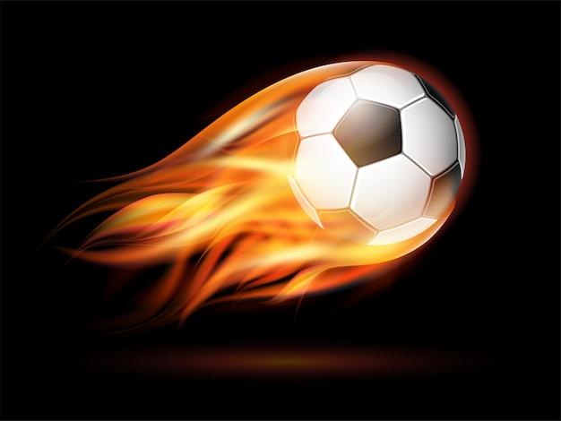 Volar balón de fútbol o fútbol en llamas. Vector Premium