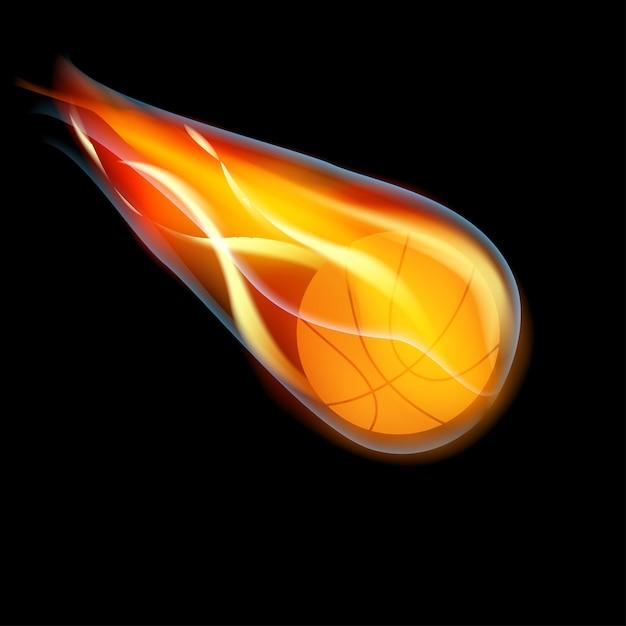 Volar baloncesto en llamas sobre fondo negro, Vector Premium