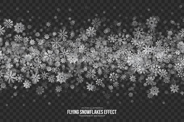 Volar copos de nieve efecto transparente Vector Premium