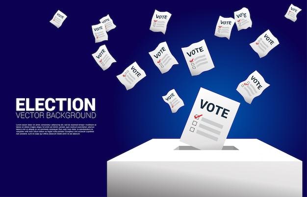 Volar el papel de voto puesto en la casilla de elecciones. Vector Premium